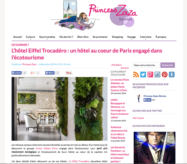 The blogger Princess Zara at the Eiffel Trocadéro Hotel!