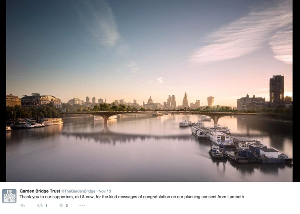 London – A Garden Bridge over Thames to be built
