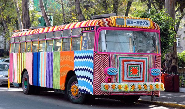 Yarn bombing, when knitting becomes street art