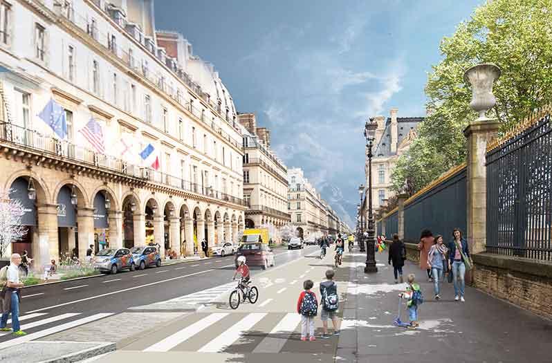 vue-d-artiste-rue-de-rivoli-piste-cyclable-double-sens-credit-celine-orsinger-green-hotels-paris-eiffel-trocadero-gavarni