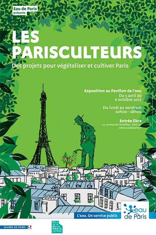 affiche-exposition-les-parisculteurs-pavillon-de-l-eau-credit-eau-de-paris-green-hotels-paris-eiffel-trocadero-gavarni